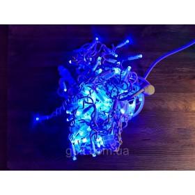 """Гирлянда """"Нить""""(String Light ) - 10м. 100Led синий+ мерцание, белый кабель"""
